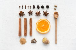 Mulled wine ingredients set on concrete background. Traditional winter warm drink. Top view. Flat lay.