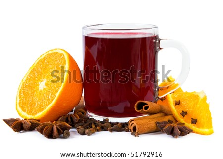 Mulled wine isolated