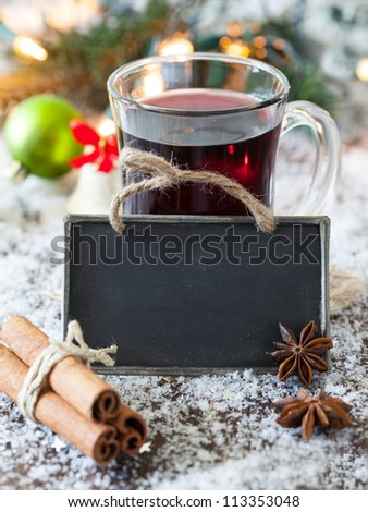 mulled wine with a tag an copy space - stock photo