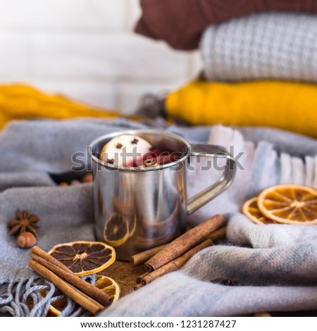 Mulled wine with apple, orange, clove, cinnamon and anise in a metal mug among winter plaids, scarves and sweaters. Hot drink on the eve Christmas eve #1231287427
