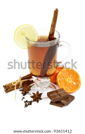Mulled wine with chocolate, cinnamon, anise, lemon and orange over white