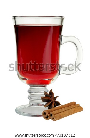 mulled wine with cinnamon and star anise