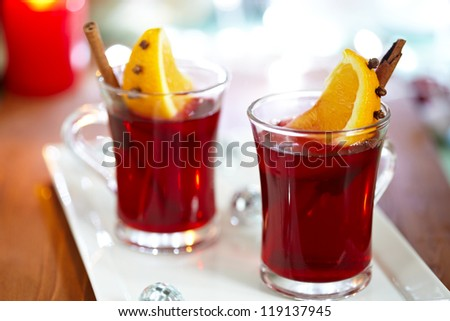 Mulled wine with spices and slice of orange