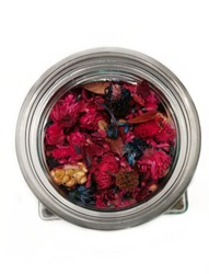 Mullty Fancy Potpourri Dry Flowers, Fragrant dried flowers on white background.