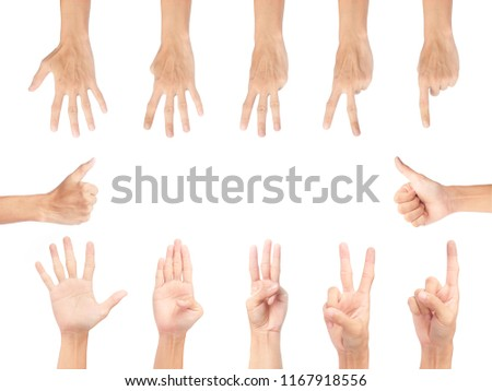 multi action hand on white background #1167918556