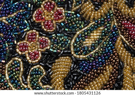 Multi-beaded background. vintage patterns flowers. Place for text. Foto d'archivio ©
