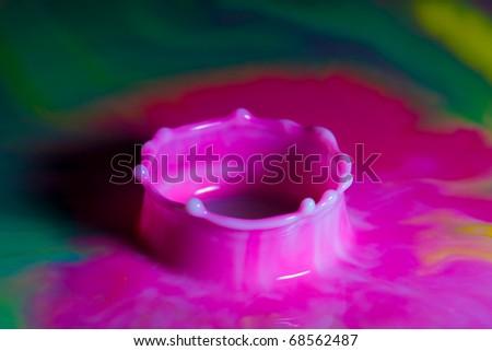 Multi Color Liquid Splash forming a crown