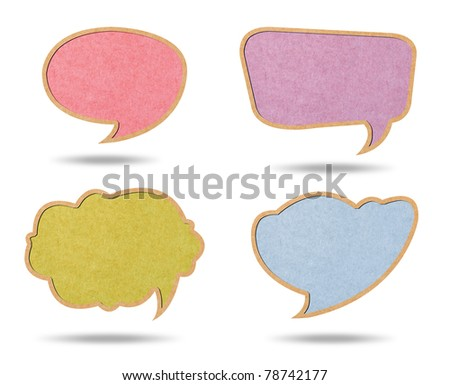 Multi Color of Retro speech bubbles from Recycle Paper on white background