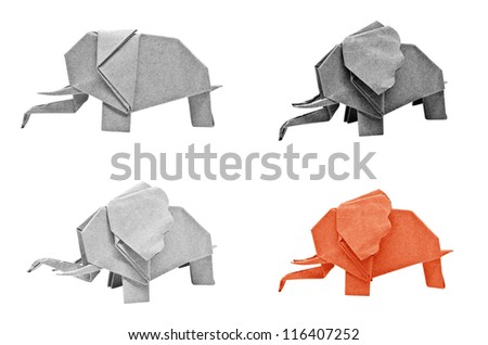 Multi color origami elephant isolated on a white background. - stock photo