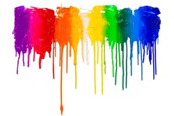 multi color paint dripping on white background
