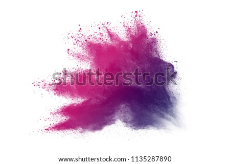 Multi-color powder explosion on white background. Colored cloud. Colorful dust explode. Paint Holi. #1135287890