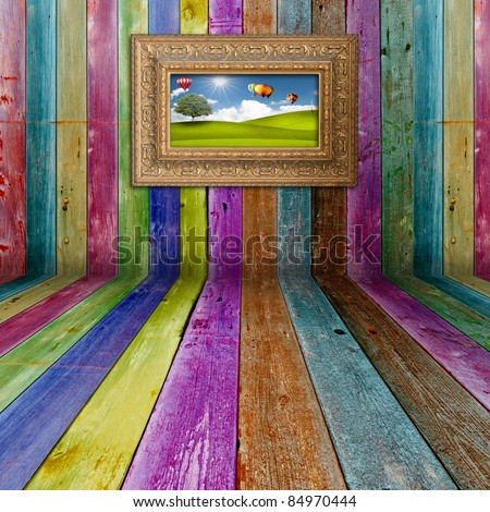 Multi color  Wood Background with  picture frame
