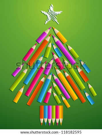 Multi-colored art pencils in Christmas pine tree greeting card.