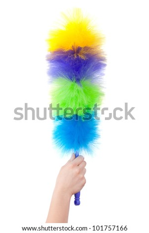 Multi-colored brush for cleaning the dust on a white background