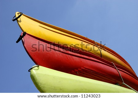 Multi colored canoes