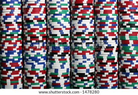 Multi colored chips stacked up