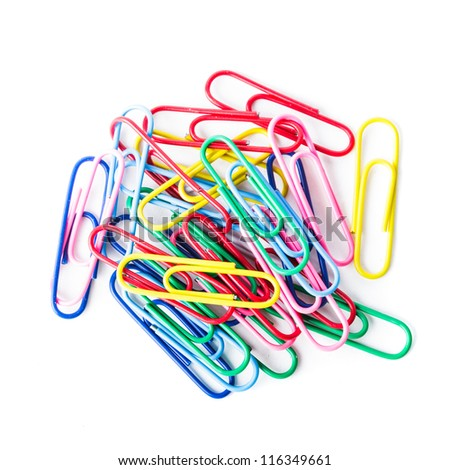 Multi- colored clip on white background isolated