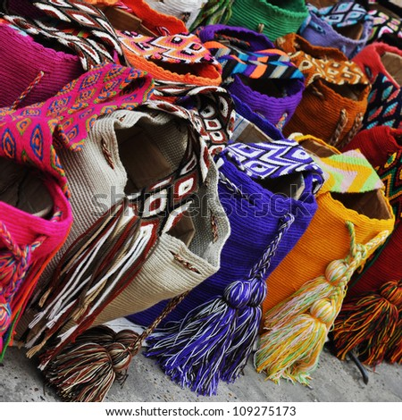 Multi-colored colombian bags on a market stall in Cartagena, Colombia