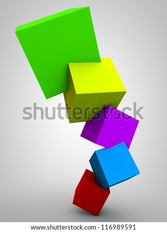 Multi Colored Cubes over white Background