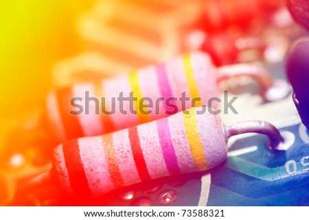 Multi-colored electronic components, shallow depth of field