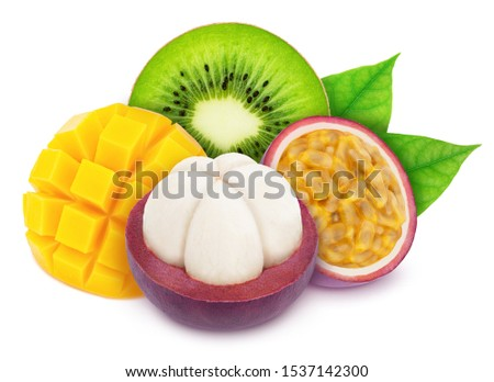 Multi-colored exotic composition with exotic fruit mix isolated on a white background with clipping path.