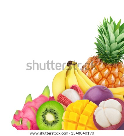 Multi-colored exotic composition with exotic fruit mix isolated on a white background with clipping path. #1548040190