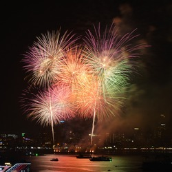 Multi colored fireworks with black backgrond