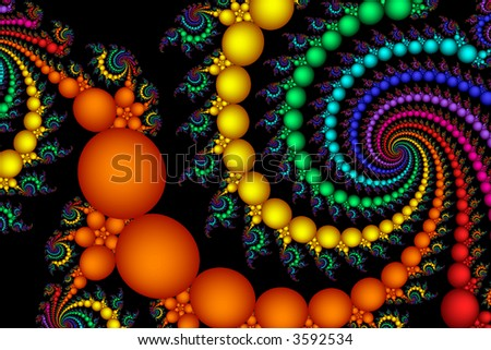 Multi colored fractal bubbles twist and float in space