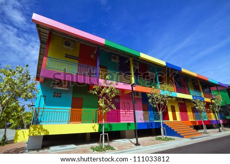 Multi-colored houses in Pattaya Thailand.