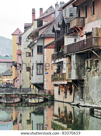 Multi-colored houses on the channel - Annecy, France