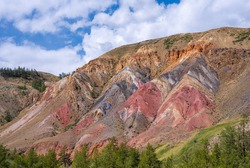Multi-colored mars rock layers with iron oxide