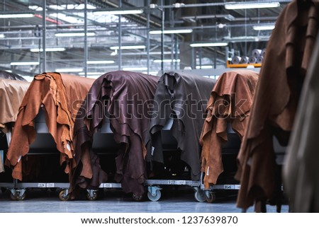 multi-colored natural leather, production of leather furniture Stock fotó ©