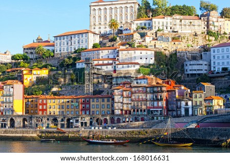 Multi-colored old houses around Ribeyr, Porto, Portugal