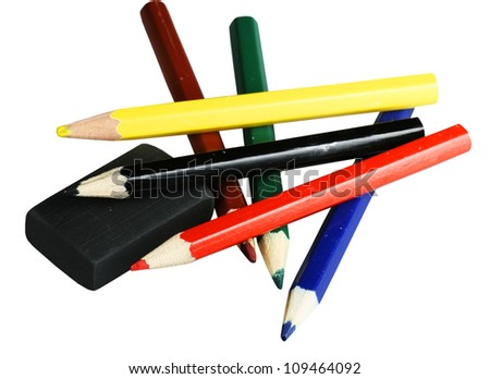 Multi-colored pencils it is isolated on a white background