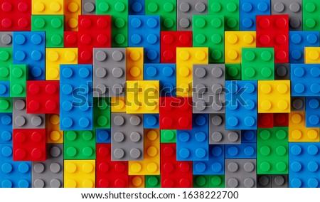Multi-colored plastic blocks background closeup Сток-фото ©