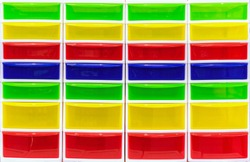 Multi-colored plastic containers. Bright storage systems for things, toys and tools.