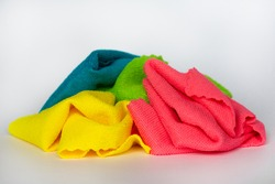 multi-colored rags microfiber, isolate on a white background