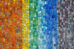 Multi-colored rainbow small square tiles of abstract vintage background with a pattern. LGBT flag made of a large number of small mosaic tiles