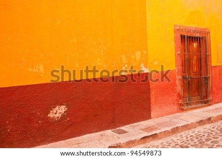 Multi-colored street scene in old Mexico