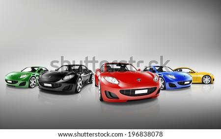 Multi Colored Three Dimensional Modern Cars  #196838078