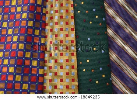 Multi-colored ties in horizontal orientation