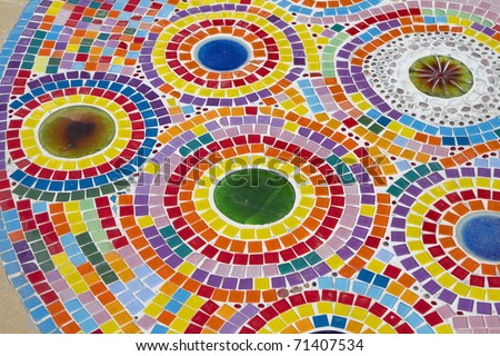 Multi-colored tiles.