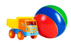 multi colored toys isolated on a white background