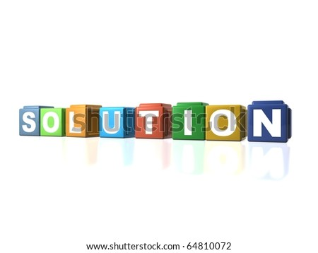 Multi colour building blocks spelling out SOLUTION - stock photo