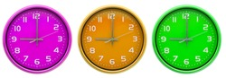 multi colour wall clocks isolated on the white background