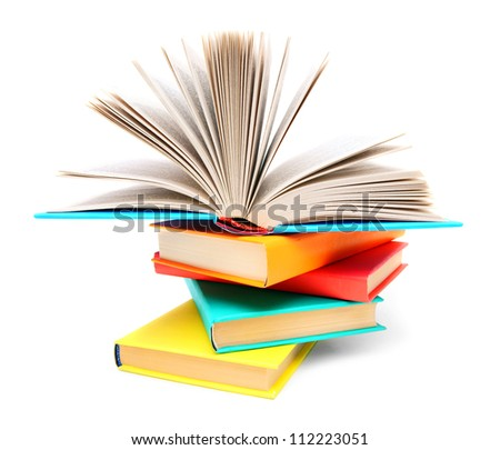 Multi-coloured books and the open book.
