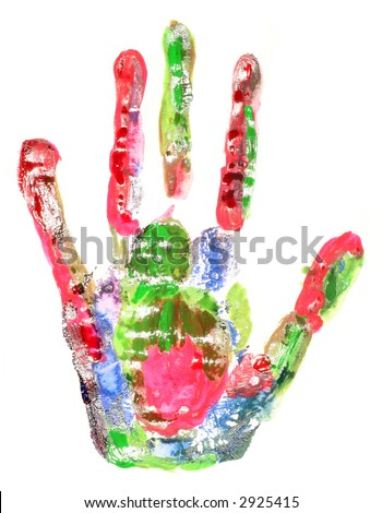 multi-coloured handprint
