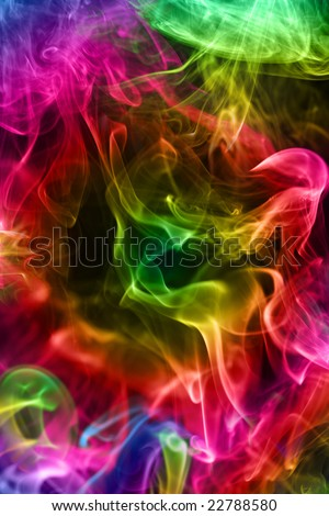 Multi-coloured smoke on a black background