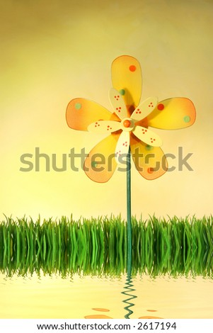 Multi-coloured windmill toy standing in the grass with water reflection