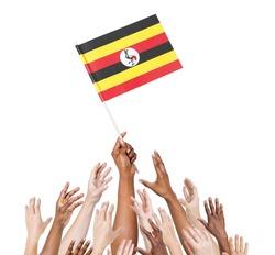 Multi-Ethnic Arms Raised for the Flag of Uganda